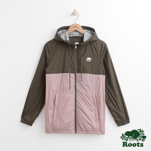 女裝-Roots 雙色尼龍連帽夾克 - 綠色