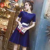 針織洋裝  女裝韓版氣質撞色圓領短袖後背綁帶蝴蝶結針織洋裝 『伊莎公主』
