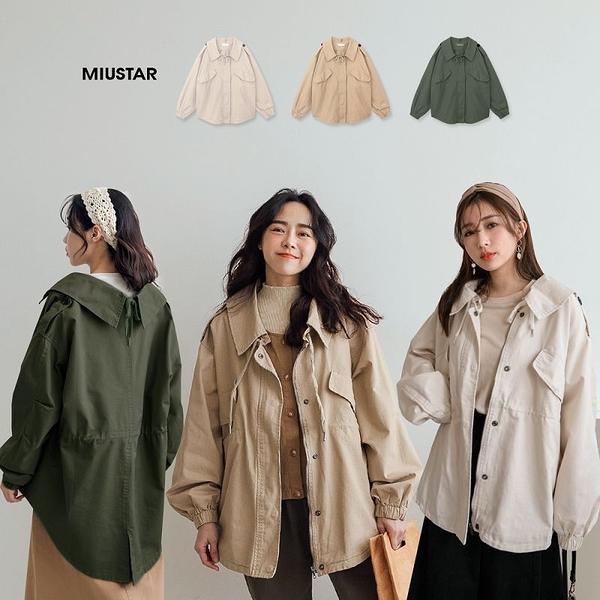 現貨-MIUSTAR 抽繩襯衫領掀蓋大口袋斜紋布軍外套(共3色)【NJ0414】