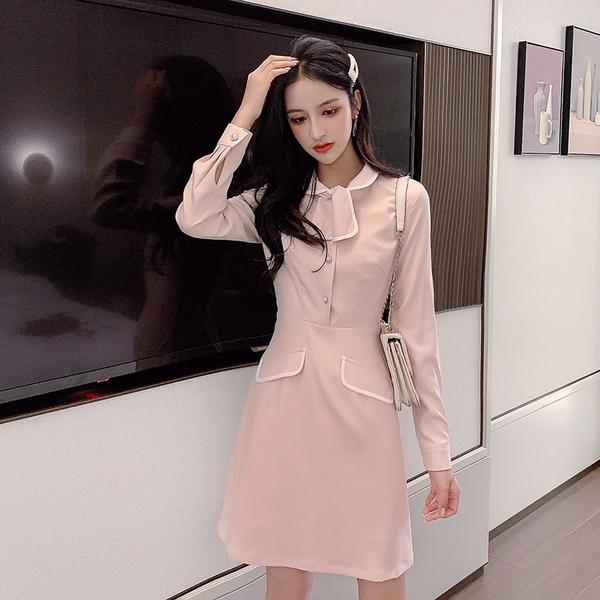 VK旗艦店 韓國風翻領修身顯瘦氣質長袖洋裝