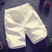 正韓夏季寬鬆亞麻休閒褲短褲男褲子薄款純棉運動沙灘褲男士五分褲