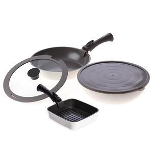 (組)可拆式陶瓷不沾導磁煎炒鍋5件組-白+不沾導磁方形煎盤-白+可拆式手柄-灰