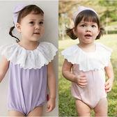 無袖包屁衣 蕾絲 荷葉領 女寶寶 連身衣 爬服 爬衣 哈衣 附髮帶 70131