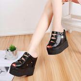 厚底拖鞋 女夏新款韓版時尚女士外穿超高跟涼拖 DN7123【歐爸生活館】