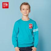 JJLKIDS 男童 美式街頭造型圓領純棉T(孔雀藍)