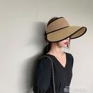 不壓頭發夏天空頂大沿帽子女夏遮陽韓版潮網紅防曬太陽可折疊草帽 依凡卡時尚