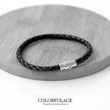 編織細版皮革手環 磁吸式黑皮繩 個性設計 經典時尚  柒彩年代【NAB7】中性款 男女皆宜