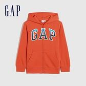 Gap男童 碳素軟磨系列 Logo法式圈織漸層連帽外套 682890-橙紅色
