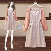 大碼洋裝 秋裝甜美可鹽可甜仙女胖mm排扣氣質連身裙長袖風衣連身裙 芊墨 618大促