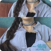 韓版簡約藍色牛仔項圈頸帶鎖骨鍊脖鍊choker配飾品女【一條街】