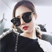 現貨-韓版時尚太陽眼鏡 韓星同款太陽眼鏡 韓星同款墨鏡半框 複古簡約個性圓臉大框24