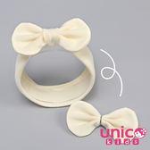 UNICO 兒童素色羊毛絨3戴款造型髮帶-米白色