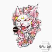 2張裝 櫻花貓神 浮世繪黑暗系紋身貼日式貓咪花臂【時尚大衣櫥】