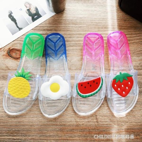 拖鞋女浴室防滑洗澡家居家家用室內塑膠夏季可愛透明水晶涼拖 童趣潮品