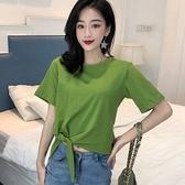 油果綠短袖t恤女2020新款寬鬆打結T恤女韓版短款露臍心機上衣夏