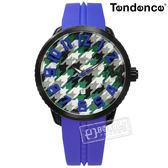 Tendence 天勢表 / TY430403 / 千鳥格 立體時標 礦石強化玻璃 日期 防水100米 矽膠手錶 綠白x黑框x藍 51mm