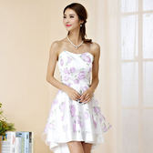 中大尺碼~甜美收腰無袖禮服連衣裙(送透明肩帶) (F~3XL)