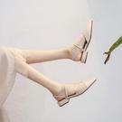 包鞋包頭涼鞋羅馬2020年夏季新款尖頭溫柔仙女風配裙時裝平底單鞋低跟半包頭涼鞋 快速出貨