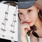 925純銀針  韓國優雅氣質 流蘇蝴蝶結珍珠 耳環-維多利亞181108