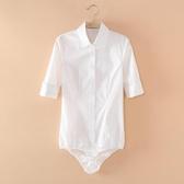 連體襯衫 2018新款白色長袖女寸衫連褲襯衣彈力修身中袖職業裝連體襯衫面試