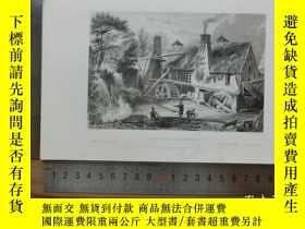 二手書博民逛書店【罕見】19世紀 銅 鋼版畫 單幅 LRON FORGE AT