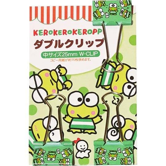 〔小禮堂〕大眼蛙 鐵製長尾夾組《3入.綠.點點》燕尾夾.夾子.銅板小物 4904555-05467