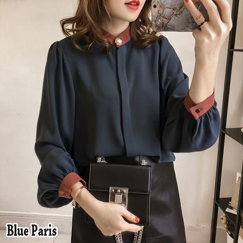 藍色巴黎 ★ 韓版 拚色立領釦燈籠長袖襯衫 寬鬆上衣《2色》【28575】