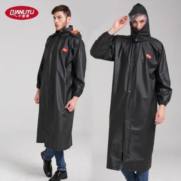 連身雨衣千里雨黑色連身雨衣加長版風衣成人男女全身防水連身騎行徒步拉鍊
