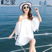 雪紡白色吊帶沙灘裙一字肩連身裙 E家人