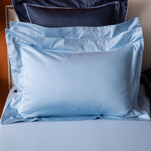 HOLA 托斯卡素色純棉歐式枕套 2入 霧藍