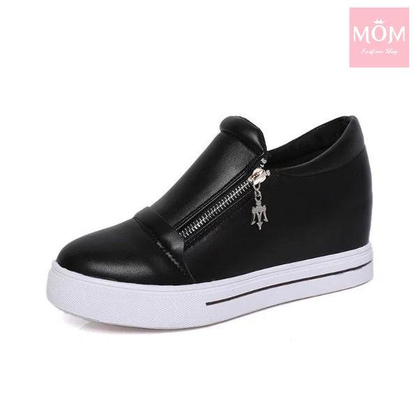 內增高厚底雙拉鍊純色休閒鞋 黑 *MOM*