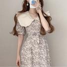 洋裝 韓系度假風大翻領泡泡袖碎花連身長裙 花漾小姐【現貨】