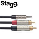 【敦煌樂器】STAGG NYC3/MPS2CMR 3M Y型音源線 3.5mm 立體聲公頭 對 雙RCA公頭