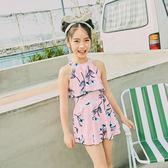 女童泳衣中大童公主連體裙式韓國范兒學生女孩泳裝女生可愛小清新 qf1247【黑色妹妹】