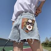 高腰破洞牛仔短褲女印花夏季大碼寬鬆闊腿a字熱褲【聚物優品】