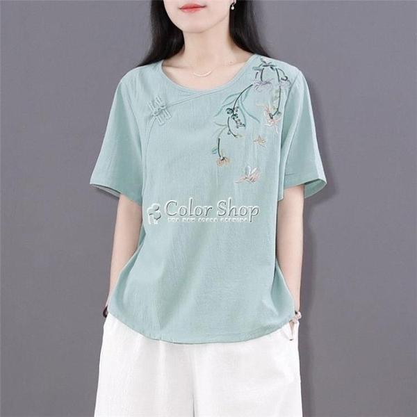 文藝復古棉麻t恤衫女寬鬆中式禪茶服盤扣短款上衣夏季中國風女裝 快速出貨