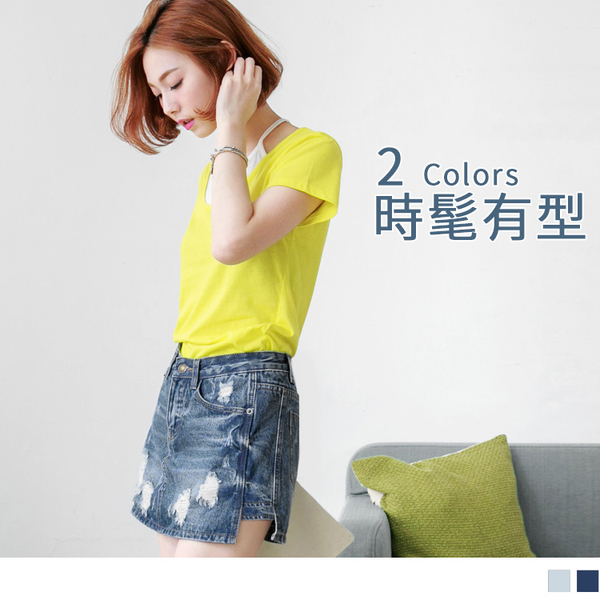 OB嚴選《BA2525-》側擺開衩水洗抓破牛仔短褲裙.2色--適 S~XL