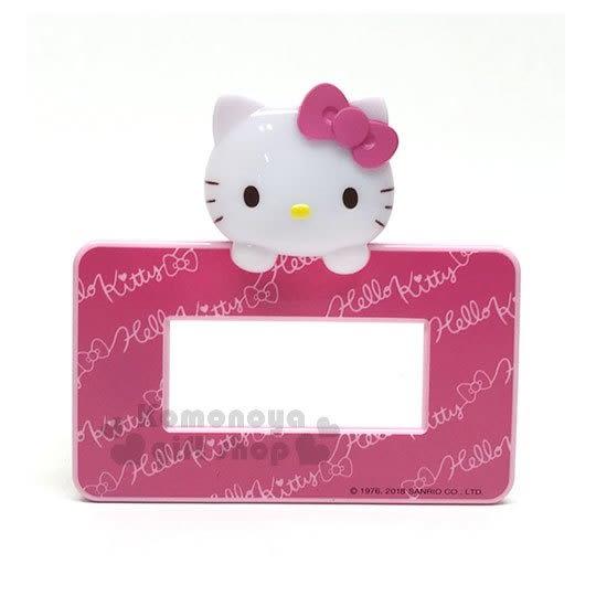 〔小禮堂〕Hello Kitty LED造型橫式插座開關裝飾板《粉.大臉》大孔.觸摸感應發光 8021044-50003