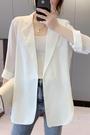 西裝外套 雪紡小西裝女夏白色西服上衣大碼垂感休閒氣質薄款設計感小眾外套 星河光年