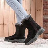 誼嘉寶雪地靴女中筒冬季保暖加絨靴子新款東北棉鞋防滑平厚底    原本良品