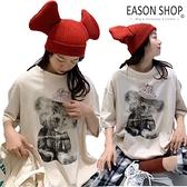 EASON SHOP(GQ0259)實拍德絨磨毛可愛無尾熊小熊圓領短袖素色棉T恤女上衣服寬鬆落肩五分打底內搭寬版
