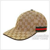 GUCCI經典雙G LOGO緹花布綠紅織帶設計魔鬼氈棒球帽(M/L/米咖啡)