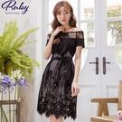 洋裝 一字領蕾絲花朵綁帶短袖洋裝-Ruby s 露比午茶