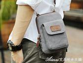 韓版帆布男包休閒男士迷你包手機包掛包戶外穿皮帶腰包跑步運動包 艾美時尚衣櫥
