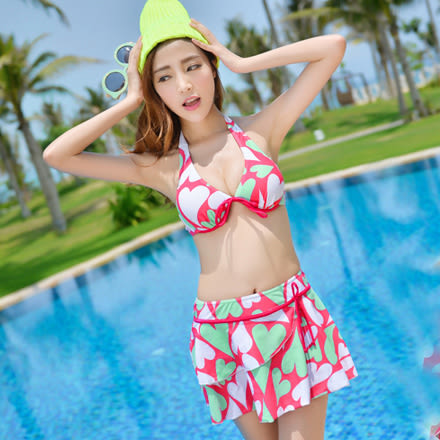 bikini泳衣女加大碼比基尼大胸鋼托性感聚攏三件套大罩杯泳裝【新店開張七折搶購】