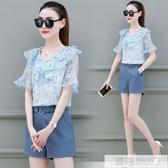 2020夏季新款韓版洋氣減齡褲裝兩件套小香風時尚雪紡網紅套裝女神 韓慕精品