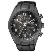 CITIZEN GENTS 時尚風格光動能電波時計腕錶/黑面黑鋼/43mm/AT8105-53E