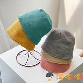 兒童簡約百搭水桶漁夫帽男女寶寶日系素色針織盆帽潮帽子【淘嘟嘟】