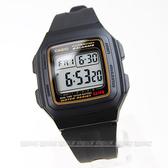CASIO卡西歐F-201WA-9A電子錶 方型 黑金配色 黑色橡膠 32mm 時間玩家 F-201WA-9ADF 簡約 防水手錶運動錶