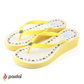 Paidal 蛋糕甜點厚底夾腳拖鞋-起司黃